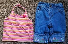 Girl's Size 18M 12-18 Months 2 Pc Striped PLACE Top & Denim Floral GAP C... - $17.50