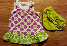 Girl's Size 0-3 M Months Two Pc Circo White W/ Purple Heart Dress, Carter's DC - $13.00
