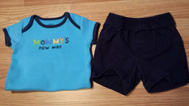 """Boy's Size 3-6 M Months Two Piece Carter's Blue """"Mommy's New Man"""" Top & ... - $16.50"""