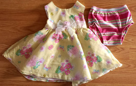 SWEET Girl's Size 12 M 9-12 Month Yellow Floral Designed Dress & Baby Ga... - $16.00