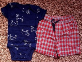 Boy's Size 3M 0-3 Months Two Piece Carter's Navy Dog NWOT Top & Plaid Sh... - $18.00
