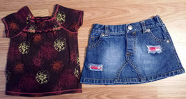 Girl's Size 6-12 M Months Two Piece Old Navy Brown Floral Top & Blue Den... - $18.50