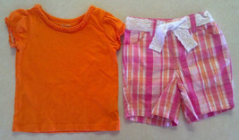 Girl's Size 12 M Months Two Piece Outfit Orange TCP Top & Pink Plaid Shorts - $18.00