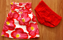 Girl's Size 6-9 M Months Two Piece Carter's Red/ Pink/ White Floral Dress & DC - $17.50
