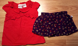 Girl's Size 12 M 9-12 Months Two Piece Red Ruffled Top & Purple Corduroy... - $11.50