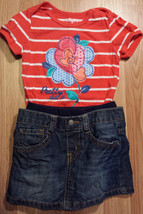 Girl's Size 12-18 M Month Two Piece Children's Place Red Floral Top, Den... - $18.00
