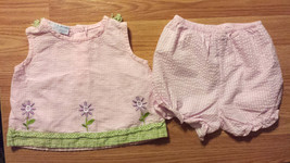 Girl's Size 6-9 M Months Two Piece A Little Angel Pink Floral Gingham Dr... - $15.50