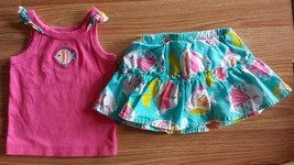 Girl's Size 9M 6-9 Months 2 Pc Carter's Pink Ruffled Fish Embroidered To... - $17.50