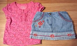 Girl's Size 9-12 M Months Two Piece Pink Flory FG Top & Koala Kids Denim... - $17.50