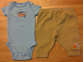 "Boy's Size 0-3 M Months 2 Pc Blue ""Property Of Mom"" Carter's Top & Brown... - $13.00"