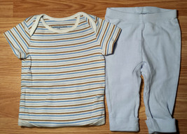 Boy's Size 3-6 M Months 2 Pc Faded Glory Striped Top & Blue Baby Gap Bea... - $13.25