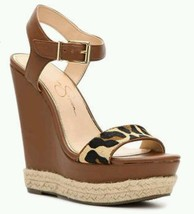 Jessica Simpson Ashella Wedge Sandal Tan Brown Cognac Leopard New. 7 1/2 - $57.41