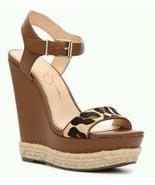 Jessica Simpson Ashella Wedge Sandal Tan Brown Cognac Leopard New. 7 1/2 - $57.41
