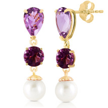 10.5 CTW 14K Solid Gold Chandelier Earrings Amethyst pearl - $242.78