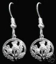 LOOK New Celtic Thistle shamrock Silver Earrings Jewelry - $25.51