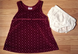 Girl's Size 3-6 M Two Piece Burgundy Velour Floral Baby Gap Dress & Crea... - $17.00