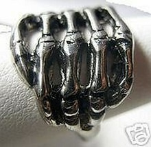 LOOK Skeleton Hand of Grim Reaper Touch of death Silver ring - $31.63