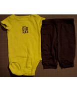 """Boy's Size 3M 0-3 Months 2 Pc Carter's Green """"Little Big Man"""" Top & Gray... - $14.25"""