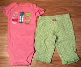 Girl's Size NB Newborn 2 Pc Carter's Pink Glitter Shoes Design Top & Gre... - $16.50
