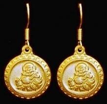 LOOK Gold plated Budai Buddha Hotei Dangle Charm earrings - $25.86