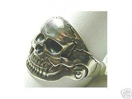 LOOK Skeleton Ring GOTHIC death Silver Laughing Skull - $34.93