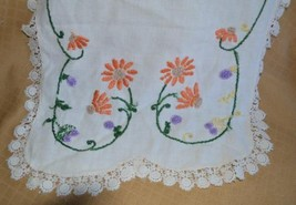 Vintage Shabby Chic Dresser Scarf Doily embroidery orange flowers - $10.62