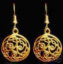 LOOK New Silver Triskele Earrings Celtic Knot Gold Plated - $35.34