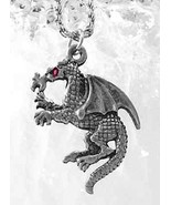 LOOK Medieval Fire Breathing Dragon Ruby Sterling silver .925 Charm Jewe... - $16.58