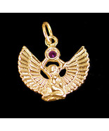 LOOK New Egyptian goddess Egypt Jewelry WINGED ISIS Ruby Gold vermeil Ch... - $28.64