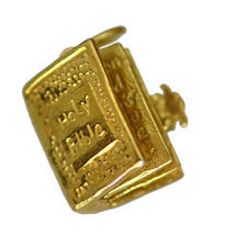 LOOK Holy Bible 24kt Gold Plated over real silver Charm Jesus Christ Chr... - $19.89