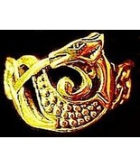 LOOK Gold Plated Celtic Dragon Ring Infinity knot TAIL - $19.55