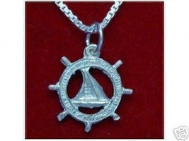LOOK Sterling Silver SAILBOAT Charm Sailor boat wheel - $14.77