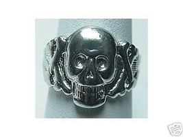 LOOK Skeleton Skull and crossbones ring Sterling Silver Gothic Skeleton symbol p - $19.39