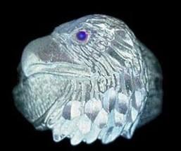 LOOK Sterling Silver Sapphire eye Eagle ring Jewelry Hawk - $34.30