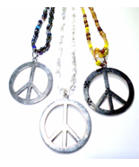 Peace Sign Beaded Necklace, 70's Symbol, Flower Child Hippie Fashion Acc... - $16.00