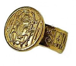 LOOK New Egyptian Egypt Ring Scarab beetle 24kt Gold plated - $34.93