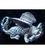 LOOK Sleeping Fire Dragon Awakened Angry Ring Sterling Silver TAIL Jewel... - $23.16