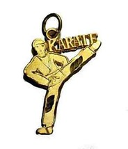 LOOK Karate Kid Man Kicking Martial Arts charm Gold plated - $19.46