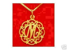 LOOK Gold Plated Pendant Charm Initial Letter M Elegant - $12.46