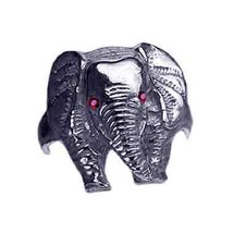 LOOK New Sterling silver 925 Elephant Ring Jewelry Ruby eyes - $37.34