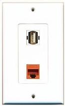 RiteAV  1 Port USB A-A - 1 Port Cat5e Ethernet Orange Wall Plate Decorative ... - $12.93