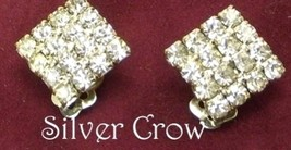 Vintage Clear Rhinestone Small  Square Earrings - $12.99