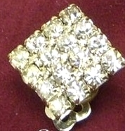 Vintage Clear Rhinestone Small  Square Earrings