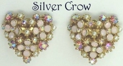 Vintage Heart Earrings Faux Pearl,Pink  Rhinestones, Gold Tone Signed Art