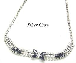 Rhinestone Black Flower & Clear Stones Choker Set Necklace & Earrings Vi... - $22.99