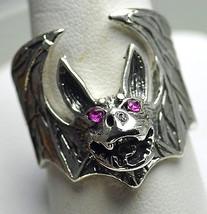 LOOK Sterling Silver Vampire Dracula Bat Rubies Ring Gothic - $53.04