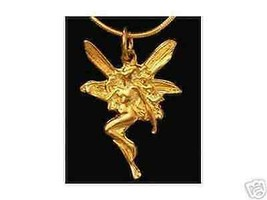 LOOK Gold Plated CELTIC PENSIVE FAIRY Silver pendant Charm - $19.08