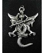 LOOK Gothic sterling silver Skeleton Skull Warrior Dragon Skull Pendant ... - $55.13