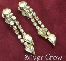 Vintage Clear Rhinestone Teardrop Dangle Earrings - $13.99