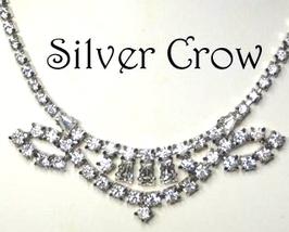 Vintage Rhinestone Necklace with Ornate Focal Bridal Wedding Prom - $24.50